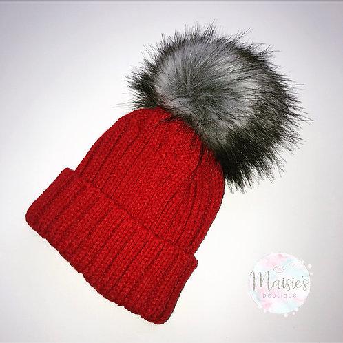 Red Single Pom Pom Hat