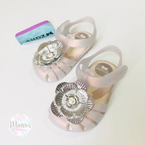 Zaxy Flower Pearl Sandals - Frost