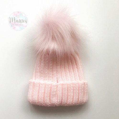 Pink Single Pom Pom Hat