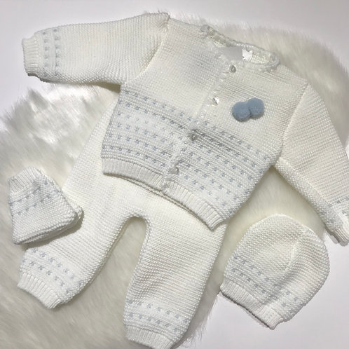 4 Piece Knit Set - Blue/ White