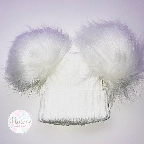 White Double Pom Pom Hat