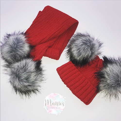 Red Double Pom Hat & Scarf Set