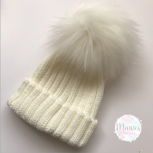 Cream Single Pom Pom Hat
