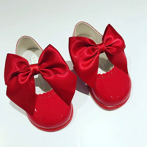 Red Hard-sole Bow Shoes