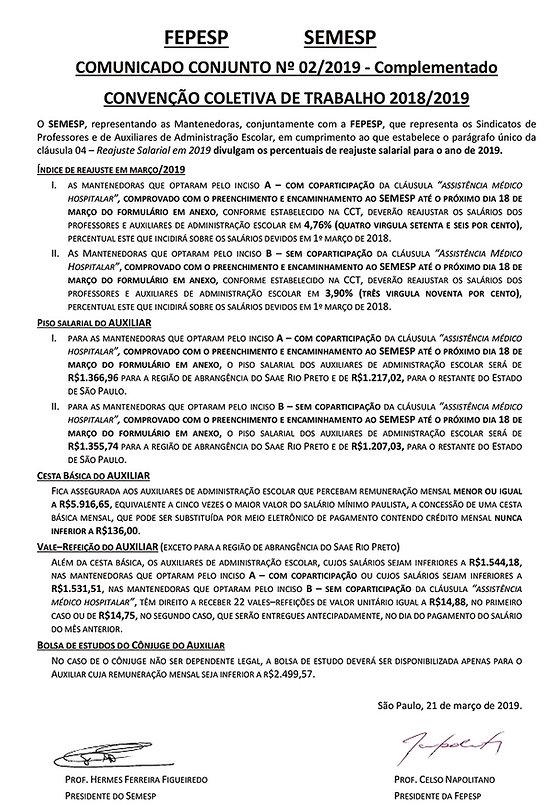 Comunicado Conjunto Semesp 2019 - comple