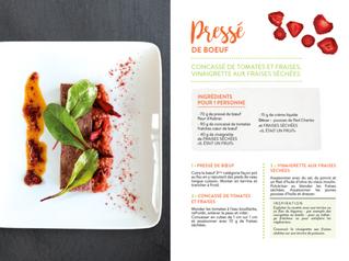 Recette originale : Pressé de boeuf, concassé de tomates et fraises