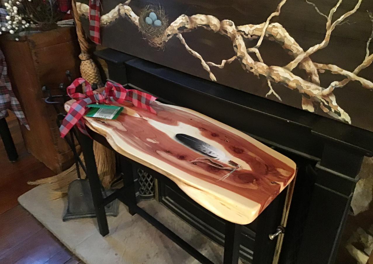 Live edge cedar side table
