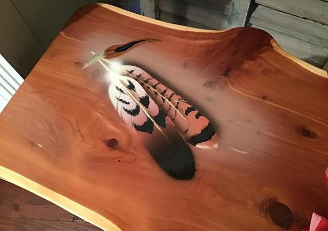 Live edge cedar end table