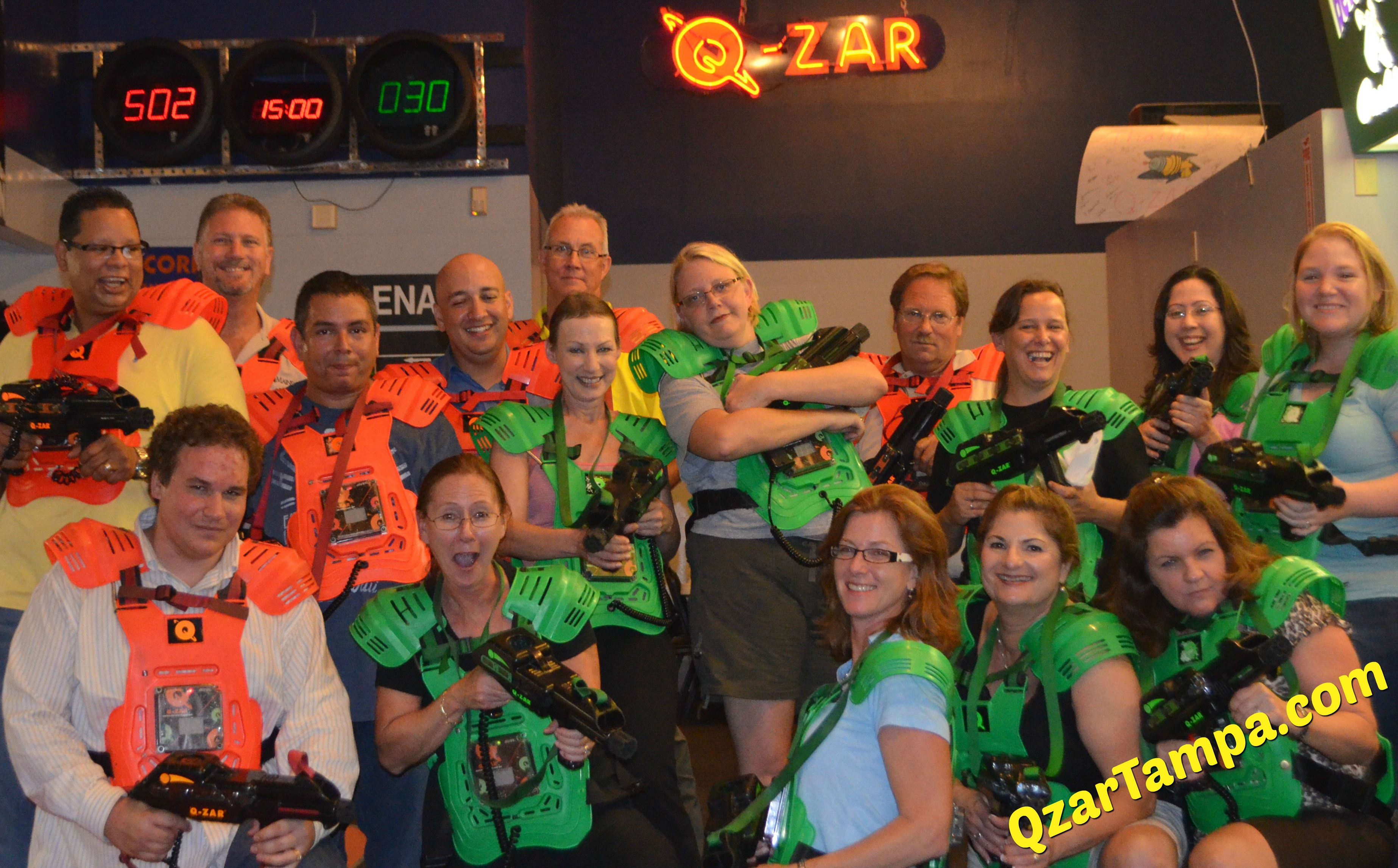 women play laser tag