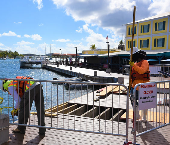 Construction workers on the boardwalk in Christiansted