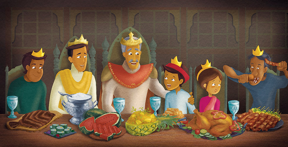 The feast - an illustration from 'The Great Victor' book. Adapted from Thai culture.