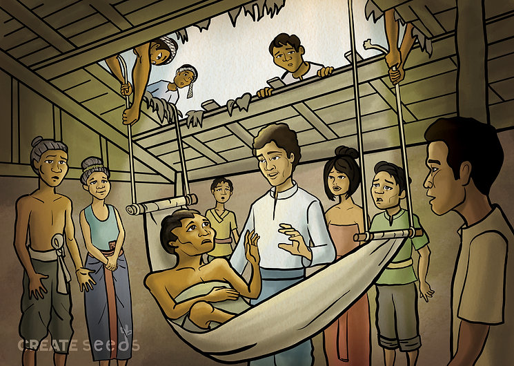Jesus healed a paralysis man in Khmer style.