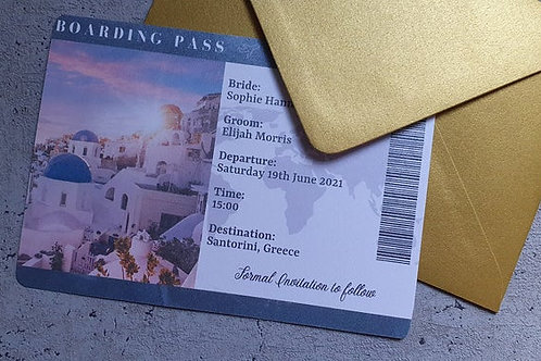 Boarding Pass Save the Date / Destination Wedding Save the Date