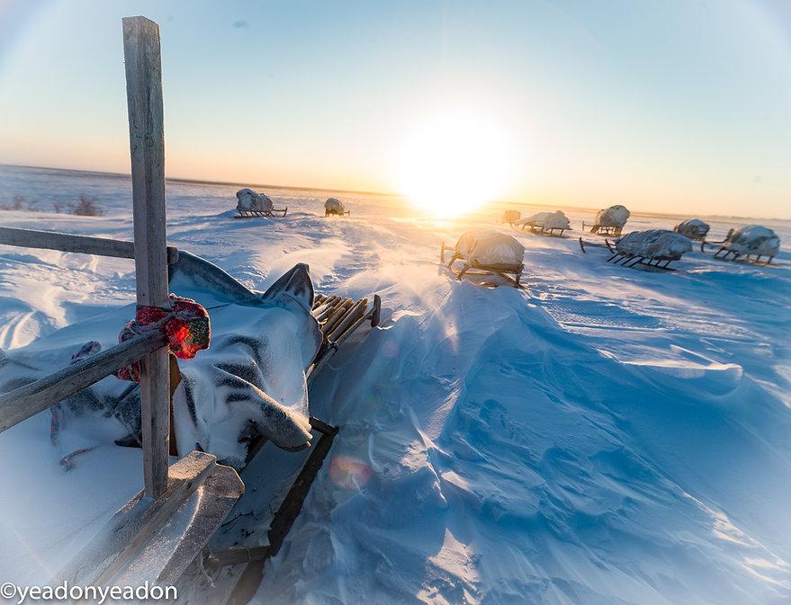 Storage sledges of the Nenets.