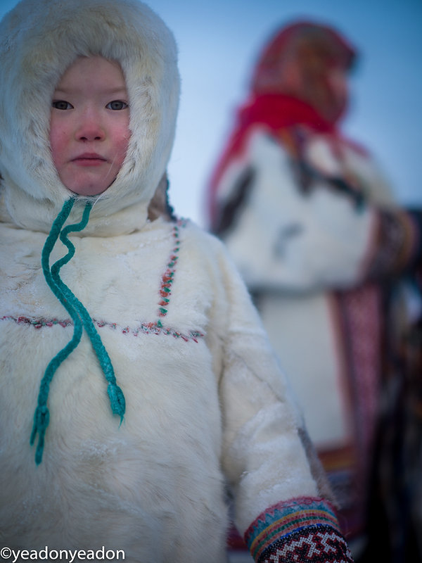 A young Nenets girl on the frozen Ob highway.