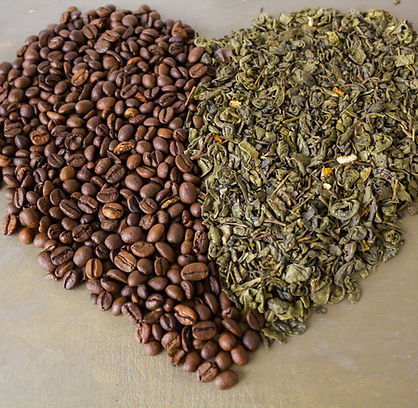 Heart of grains  black coffee and green