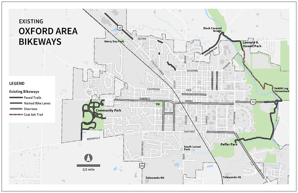 Map of completed Oxford Area Trail phases