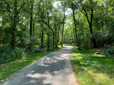 Phase 2 of the trails winds through the beautiful woods between DeWitt Homestead Park and Peffer Park.