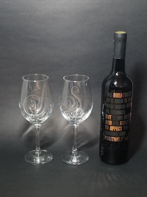 BLACKnOUT Custom Signature WINE Bottle w 2 Etched Wine Glasses