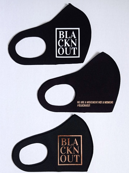 BLACKnOUT Face Masks - 3 pack