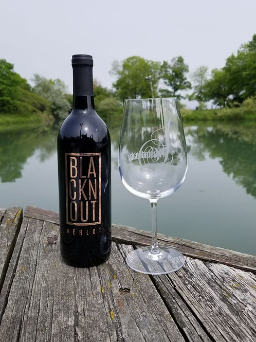 BLACKnOUT Custom Etched WINE Bottle w 1 Etched Wine Glass