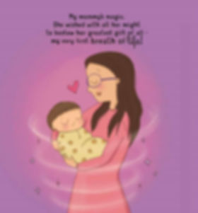 Mother's love at birth illustration from