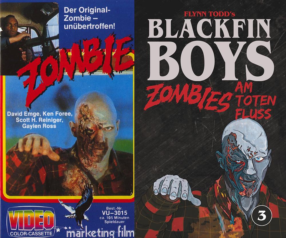Zombie vs. Blackfin Boys, Buchcover inspiriert von George A. Romero