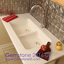 gemstone 2916, solid surface, sinks, double bowl, gemstone sinks, kitchen sinks