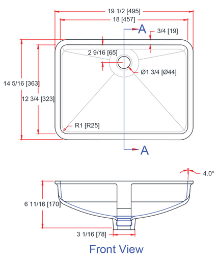 Gemstone 1812-UV Universal Design Lavatory