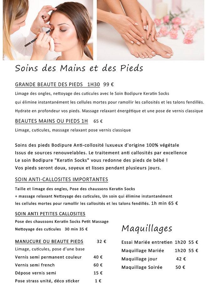 Tarifs beauté mains pieds maquillage 202