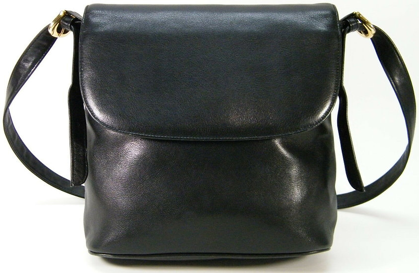 VALERIE STEVENS SHOULDER FLAP BAG BLACK SOFT GLOVE LEATHER PURSE HANDBAG BAG