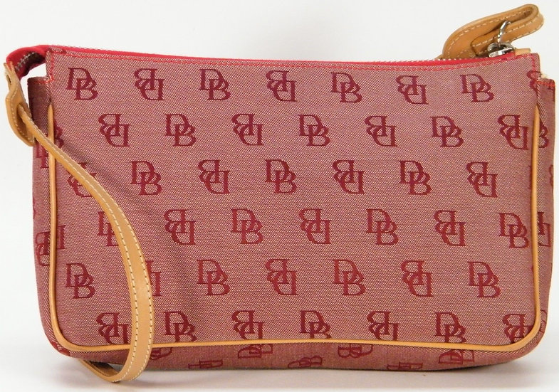 DOONEY & BOURKE Small Hobo Shoulder Bag Red Signature Logo CANVAS PURSE
