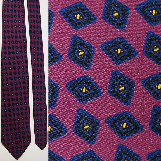 Vintage Brooks Brothers Checkered Geometric Burgundy Navy Blue Silk NECKTIE