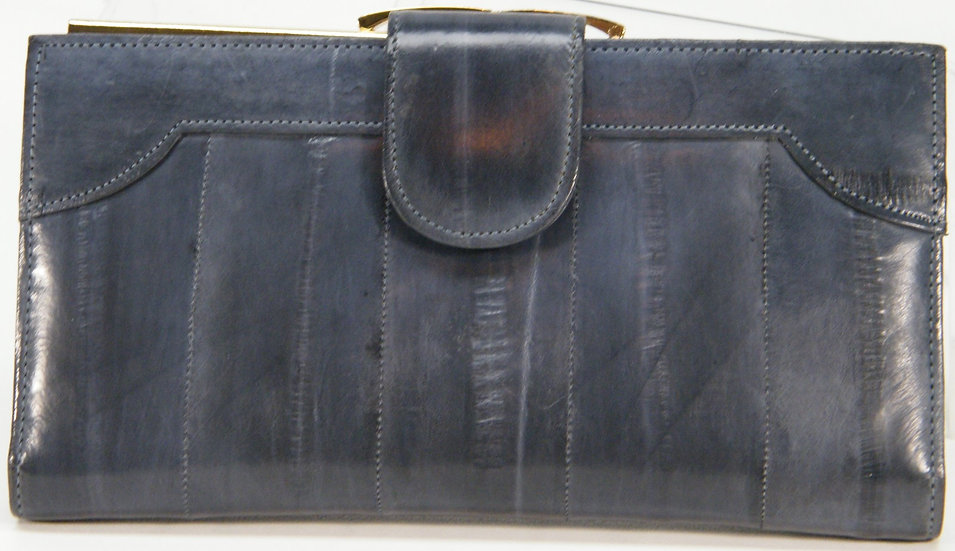 Exotic EEL SKIN checkbook Wallet Clutch