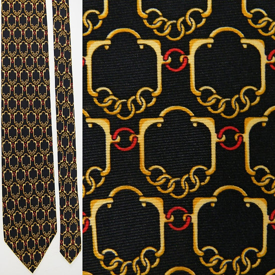 Paolo Gucci Links & Chains Black Yellow Gold Silk NECKTIE TIE