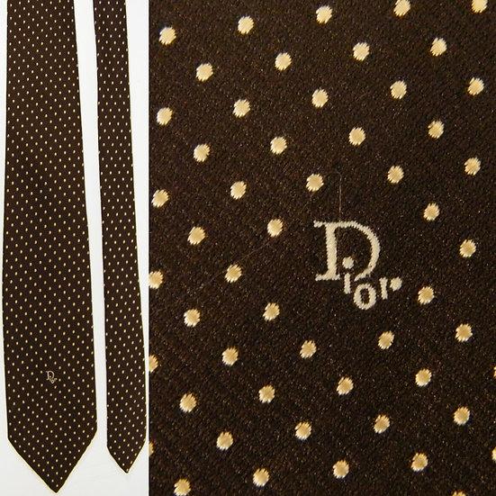 Vintage Christian Dior Polka Dot Brown Ivory Skinny NECKTIE TIE