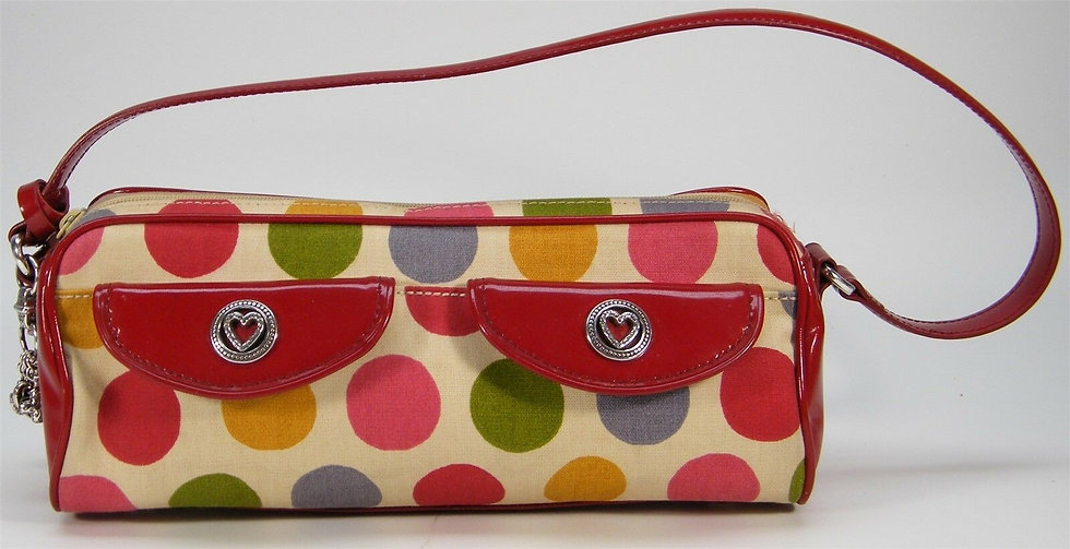 BRIGHTON Shoulder BAG RED IVORY BLUE Polka Dot CANVAS PATENT SMALL Charm PURSE