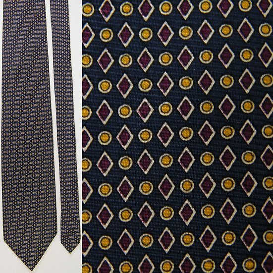 Brooks Brothers Diamonds Polka Dot Geometric Navy Blue Maroon Silk NECKTIE TIE