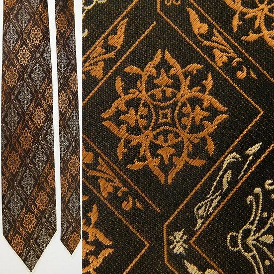 XL Phat Farm Checkered Art Nouveau Brown Silk NECKTIE TIE