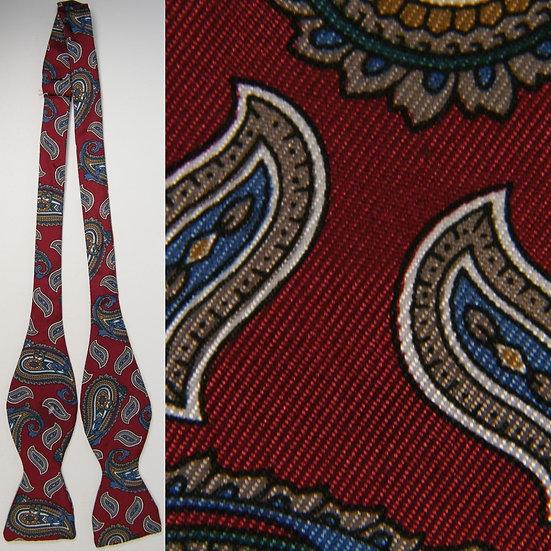 Vicky Davis Bowtie Paisley Red Blue Silk Necktie