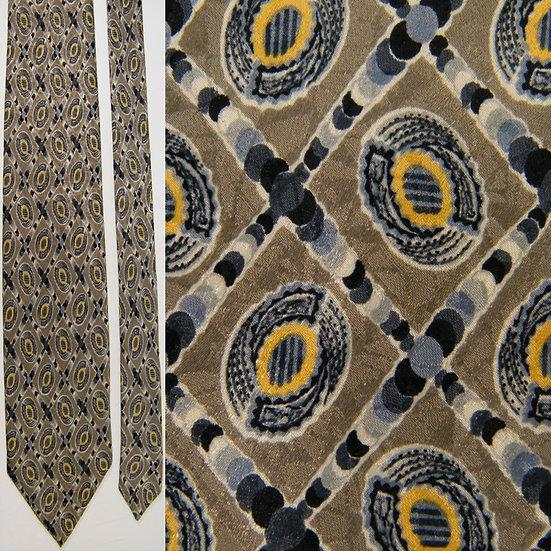 Canali Checkered Polka Dot Putty Grey Yellow Silk NECKTIE TIE