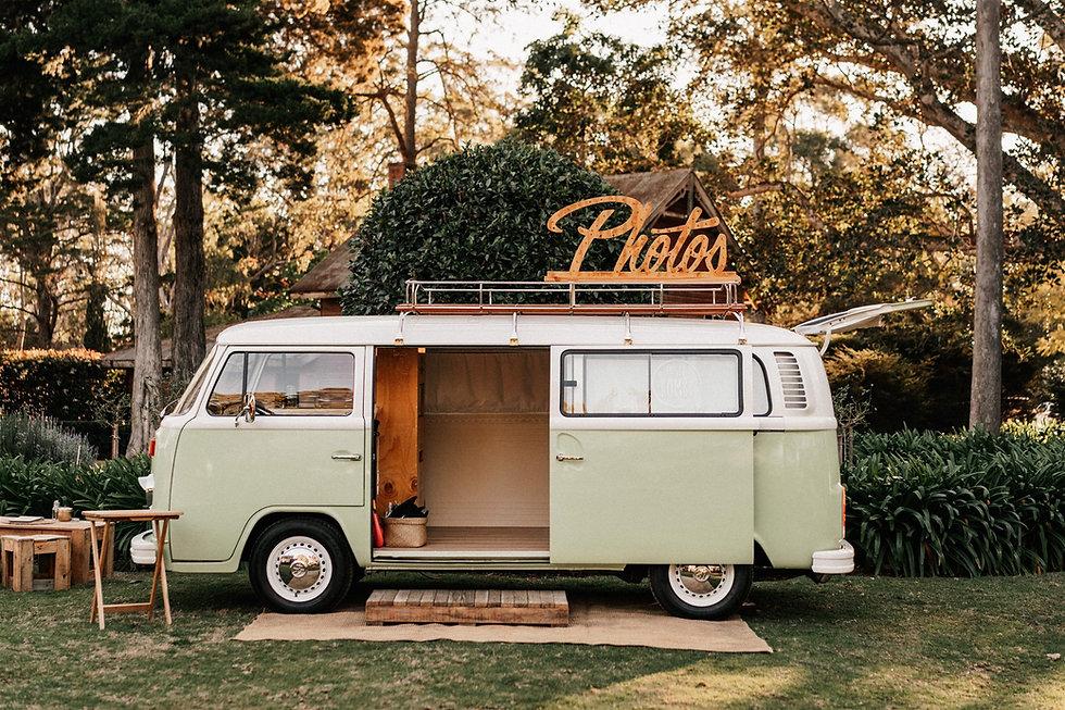 Green Volkswagen Kombi van photo booth