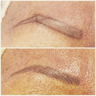 Microblading cover up of faded ashy brows