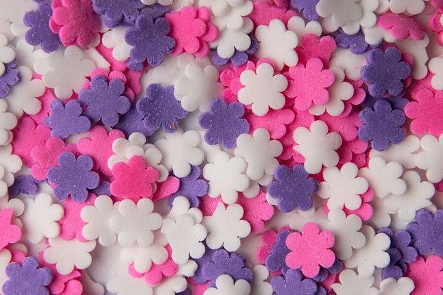 סוכריות פרחים לבן ורוד סגול