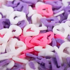 סוכריות לבבות חלול לבן סגול ורוד