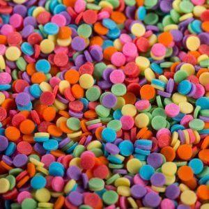 סוכריות מיני עיגול שטוח צבעוני