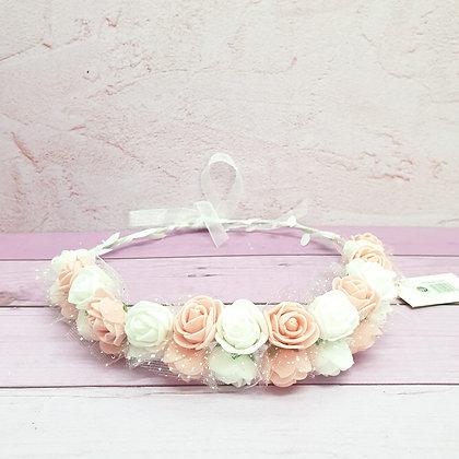 זר פרחים 2 שורות אפרסק לבן