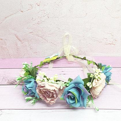 זר פרחים לראש כחול ורוד עתיק