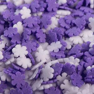 סוכריות פתיתי שלג סגול לבן