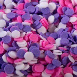 סוכריות עיגול שטוח לבן ורוד סגול